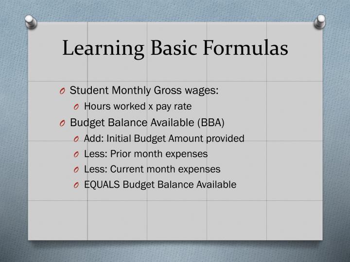 Learning Basic Formulas