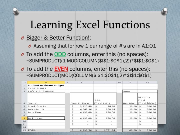 Learning Excel Functions