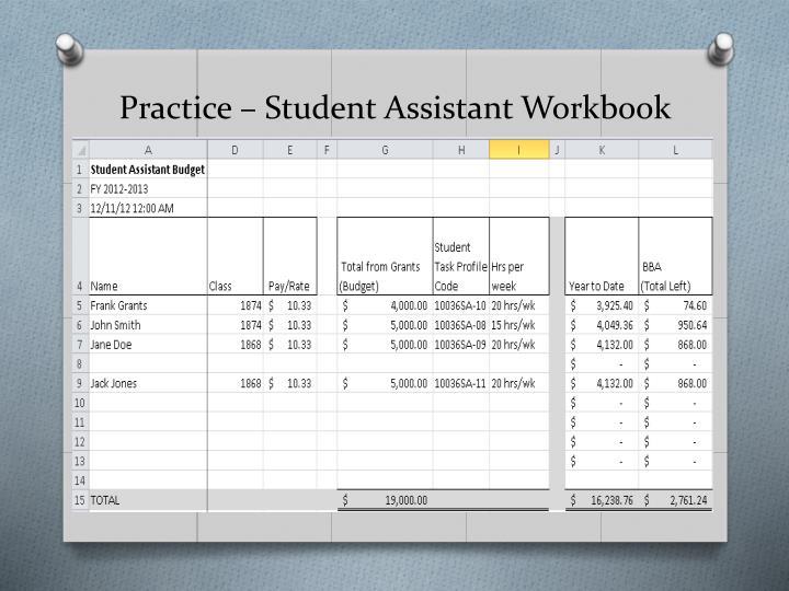 Practice – Student Assistant Workbook