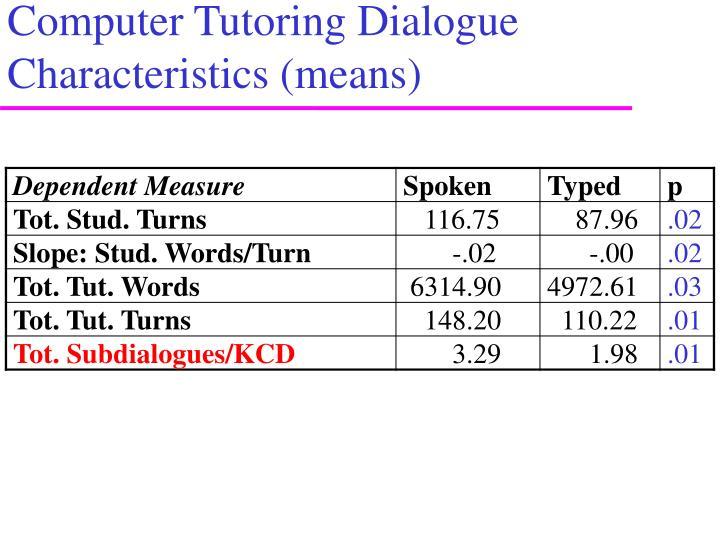 Computer Tutoring Dialogue Characteristics (means)