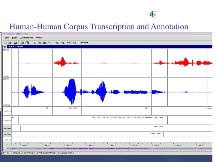 Human-Human Corpus Transcription and Annotation