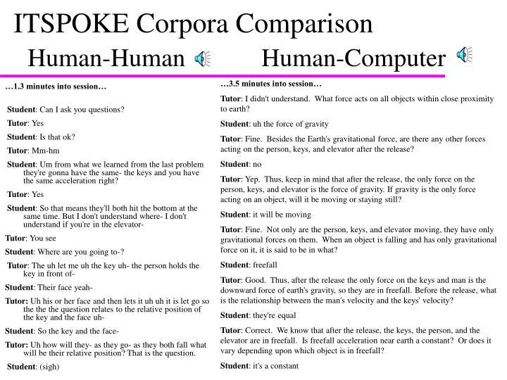 ITSPOKE Corpora Comparison