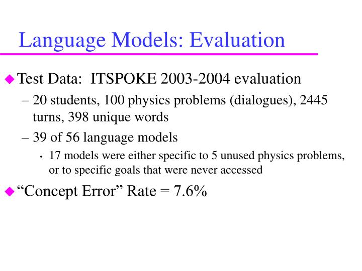 Language Models: Evaluation