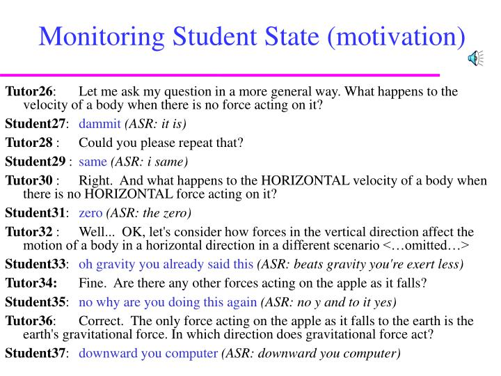 Monitoring Student State (motivation)