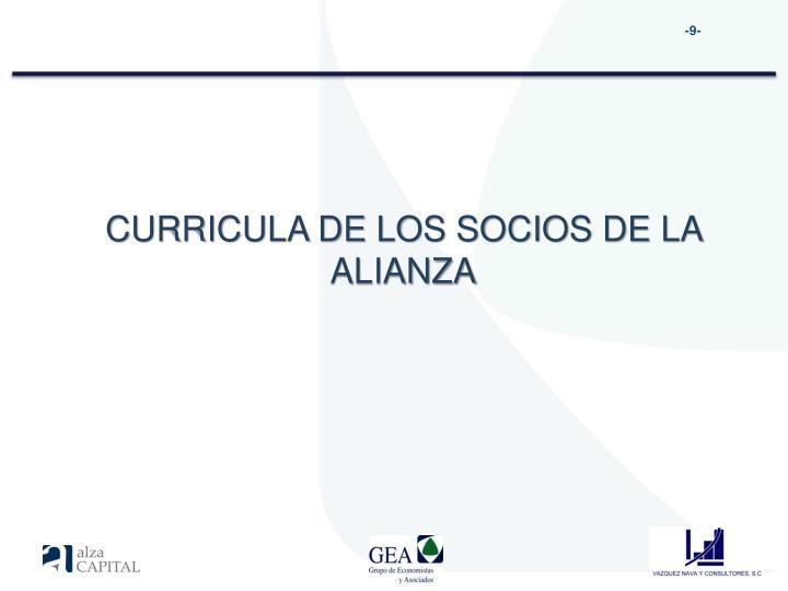 CURRICULA DE LOS SOCIOS DE LA ALIANZA