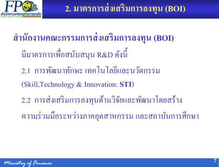 2. มาตรการส่งเสริมการลงทุน (