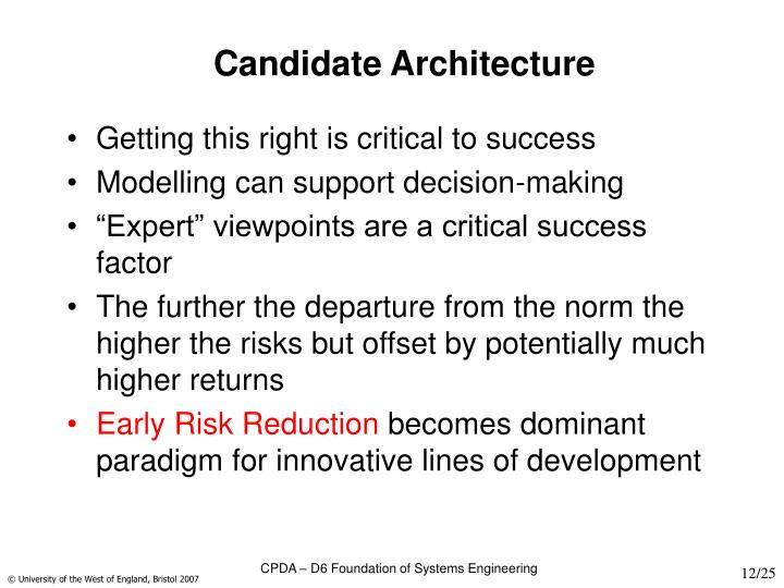 Candidate Architecture