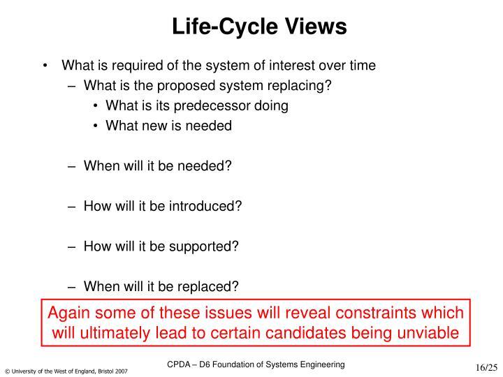 Life-Cycle Views