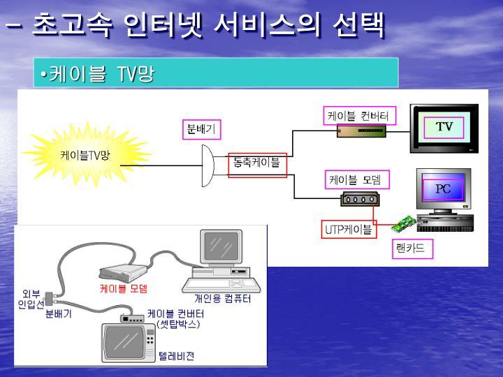 - 초고속 인터넷 서비스의 선택