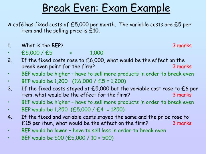 Break Even: Exam Example