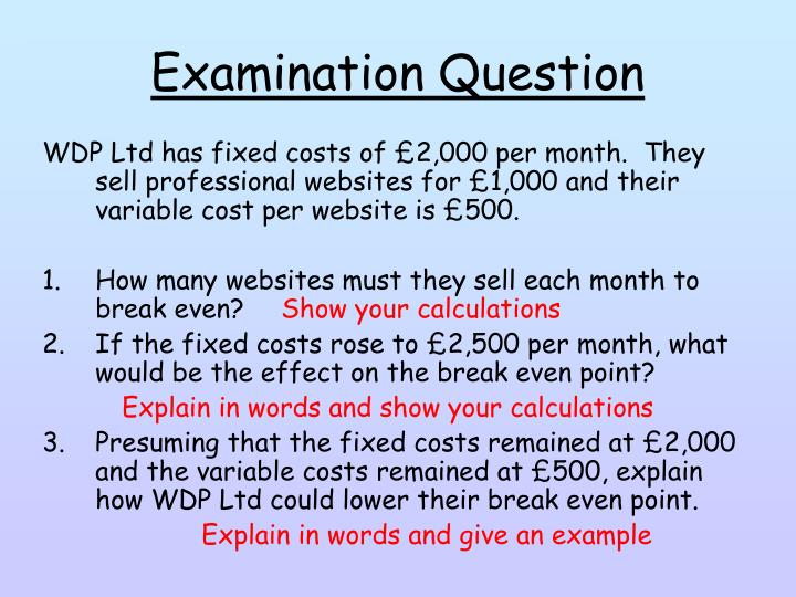 Examination Question