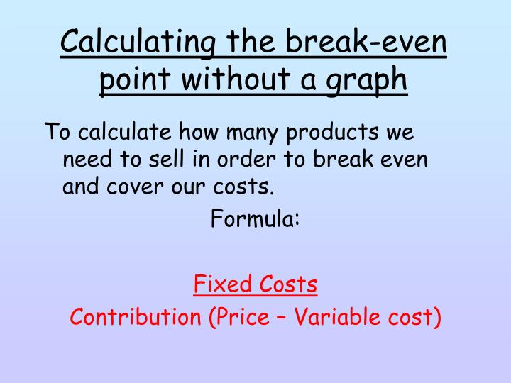 Calculating the break-even point without a graph
