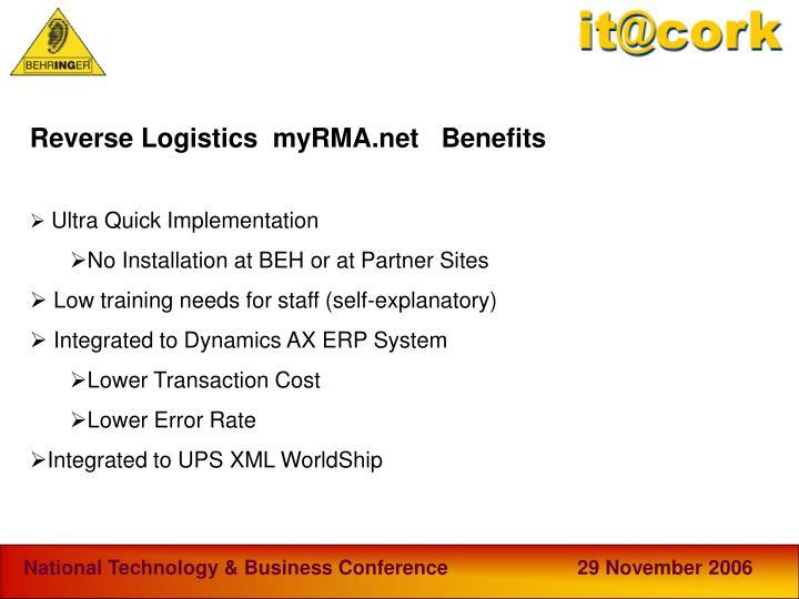 Reverse Logistics  myRMA.net   Benefits