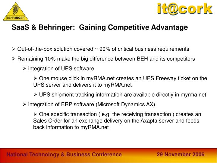 SaaS & Behringer:  Gaining Competitive Advantage