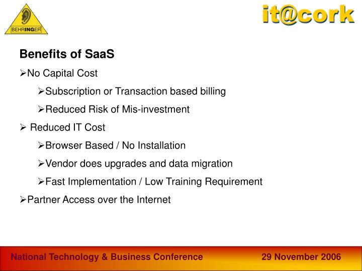Benefits of SaaS