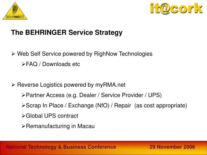 The BEHRINGER Service Strategy