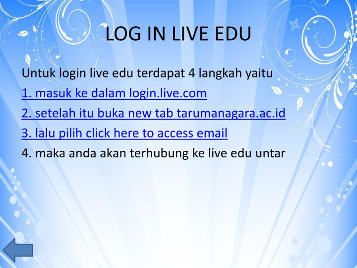 LOG IN LIVE EDU