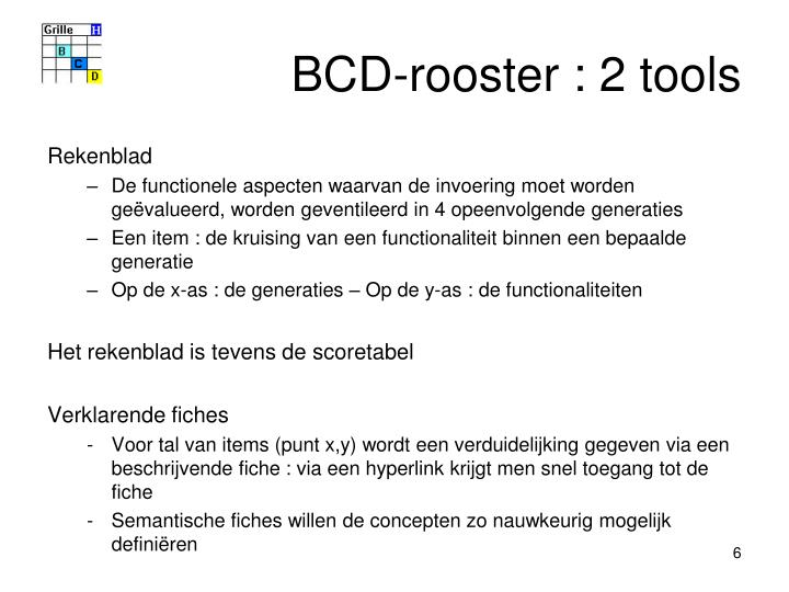 BCD-rooster : 2 tools