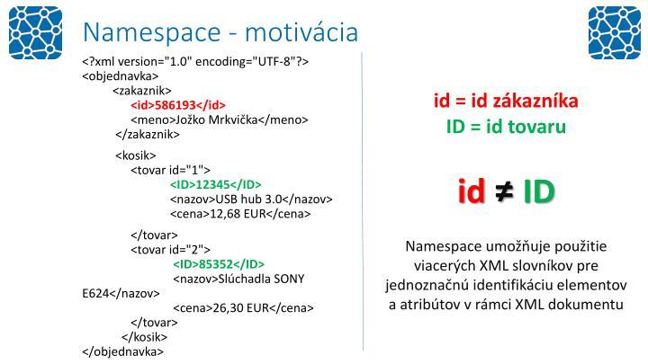 Namespace - motivácia