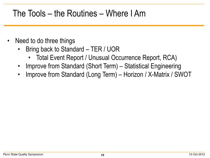 The Tools – the Routines – Where I Am