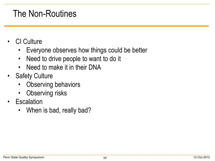 The Non-Routines