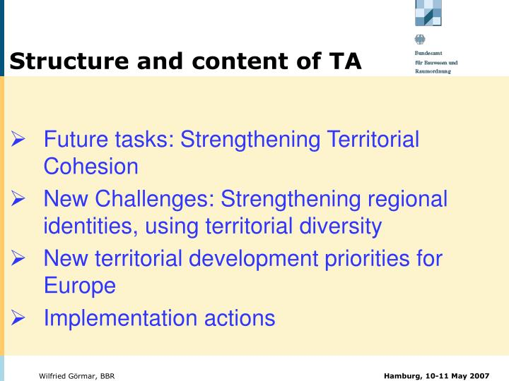 Structure and content of TA