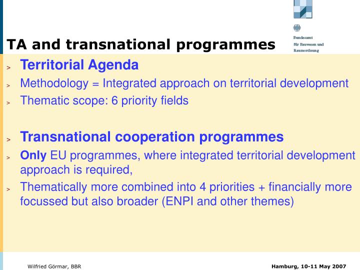 TA and transnational programmes
