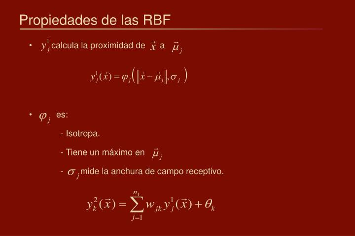 Propiedades de las RBF