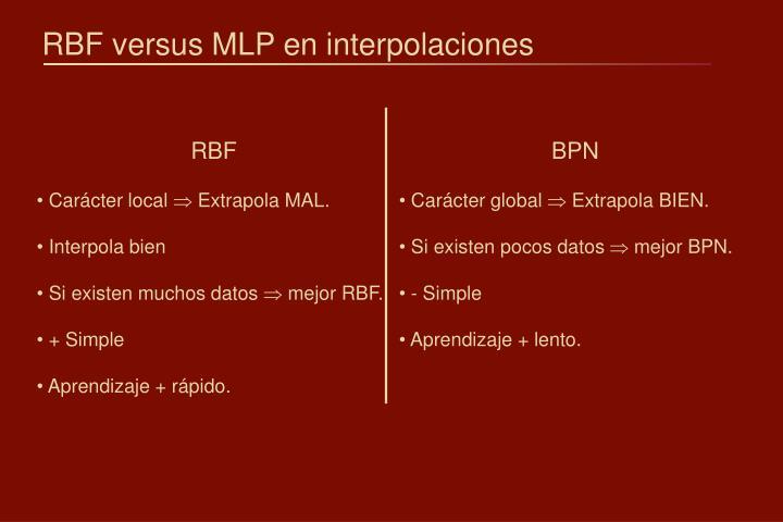 RBF versus MLP en interpolaciones