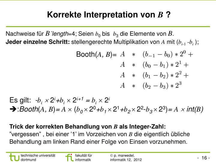 Korrekte Interpretation von