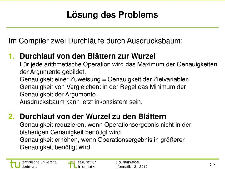 Lösung des Problems