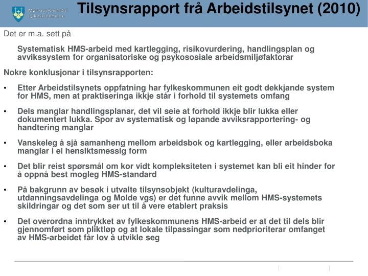 Tilsynsrapport frå Arbeidstilsynet (2010)