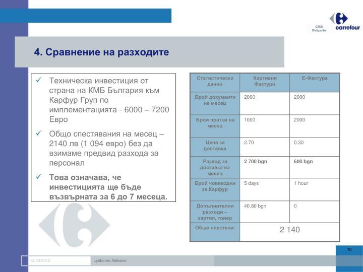 4. Сравнение на разходите
