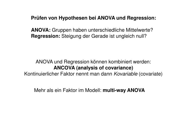 Prüfen von Hypothesen bei ANOVA und Regression: