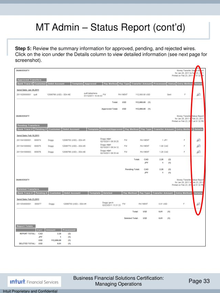 MT Admin – Status Report (cont'd)