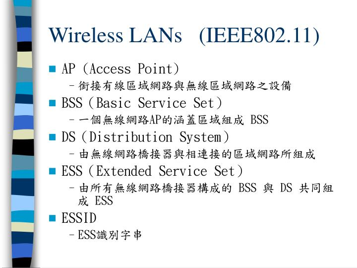 Wireless LANs   (IEEE802.11)