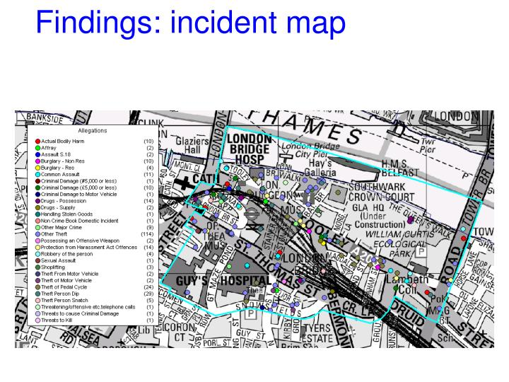 Findings: incident map