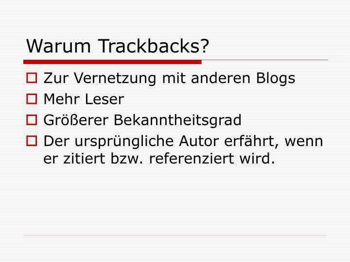 Warum Trackbacks?
