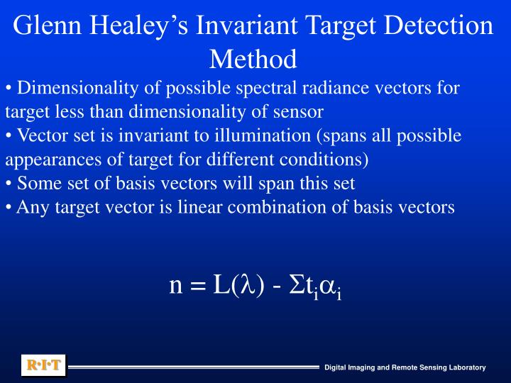 Glenn Healey's Invariant Target Detection Method