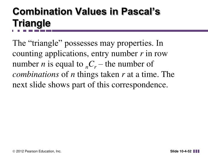 Combination Values in Pascal's Triangle