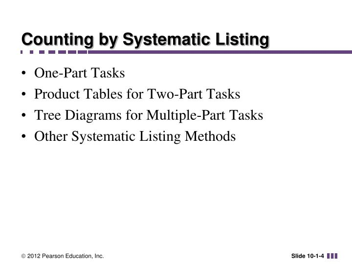 Counting by Systematic Listing