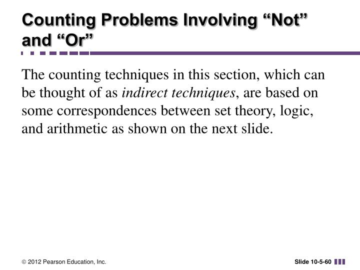 "Counting Problems Involving ""Not"" and ""Or"""