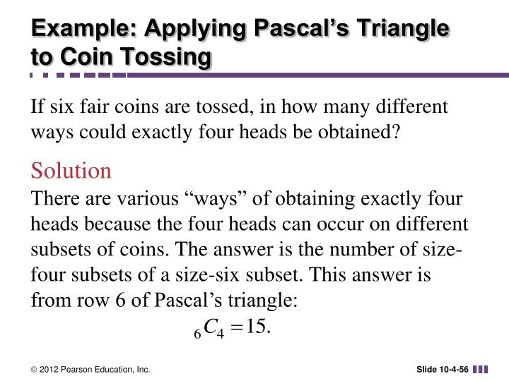 Example: Applying Pascal's Triangle to Coin Tossing