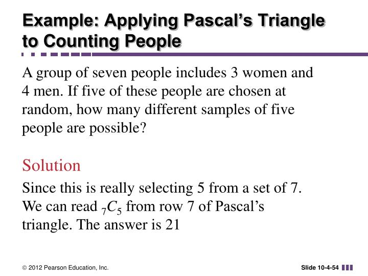 Example: Applying Pascal's Triangle to Counting People