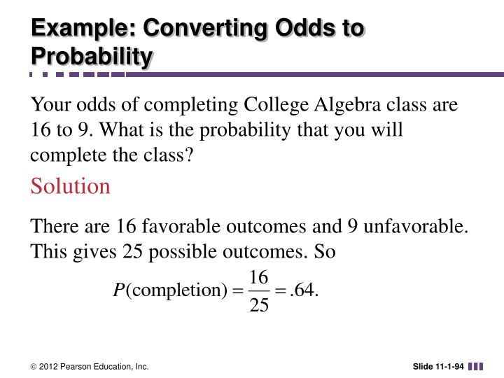 Example: Converting Odds to Probability