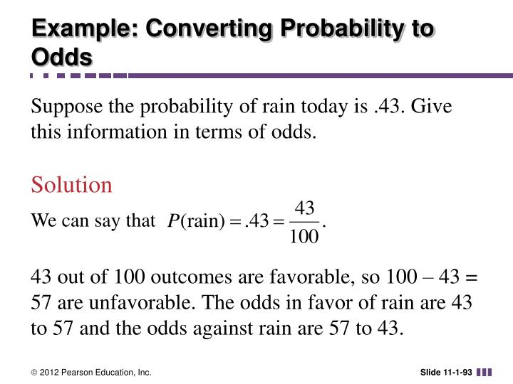 Example: Converting Probability to Odds