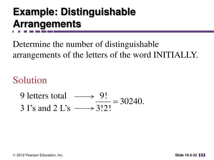 Example: Distinguishable Arrangements
