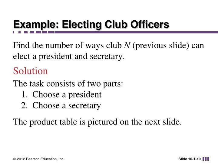Example: Electing Club Officers