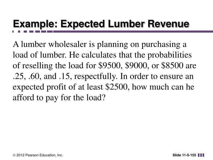 Example: Expected Lumber Revenue