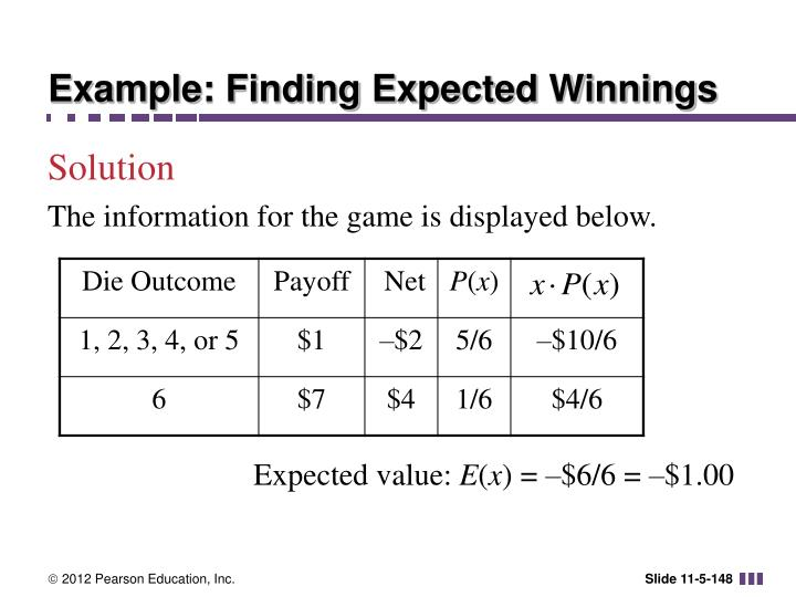 Example: Finding Expected Winnings